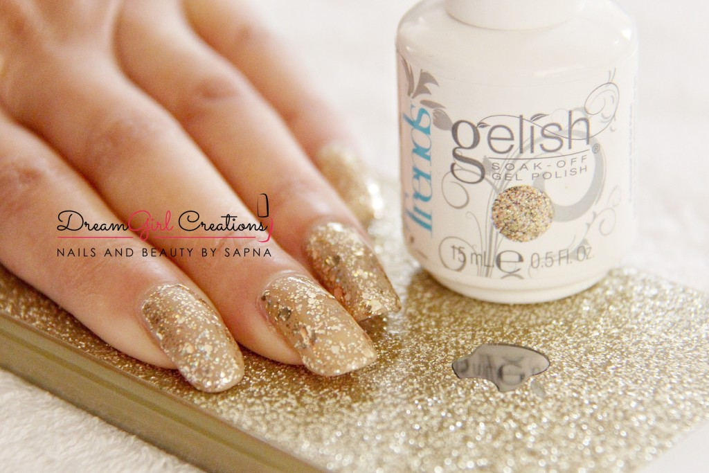 Gelish Taupe Model & All that Glitter is Gold