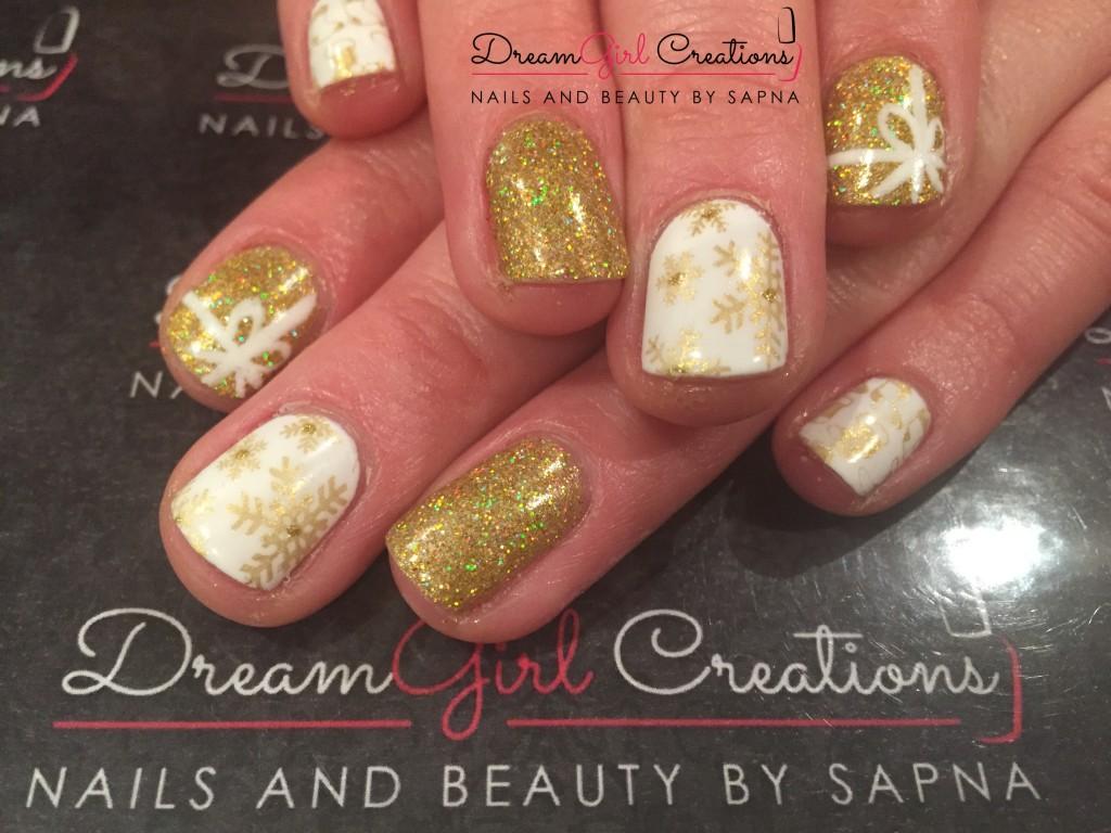CND Shellac Cream Puff & Lecente Crackle Christmas Nails